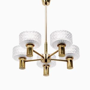 Clear Glass and Brass Chandelier with Five Shades, 1960s
