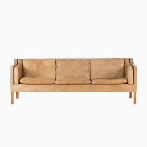 Caramel Leather Sofa by Børge Mogensen for Fredericia, 1960s