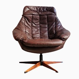 Mid-Century Brown Leather Swivel Easy-Chair