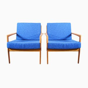 Mid-Century Swedish Electric Blue USA 75 Easy Chairs by Folke Olsson for Dux