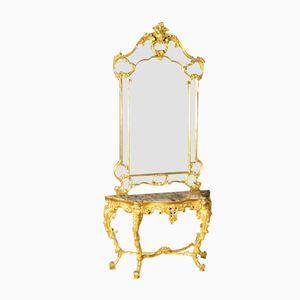 Consolle vintage dorata con specchio, Italia, anni '40