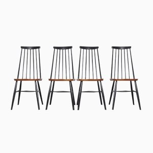 Mid-Century Spindle High-Back Chairs, Set of 4