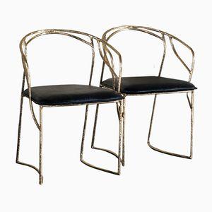 Skulpturale Bronze Stühle in Bambus Optik von Franco Mariotti für Edizioni Flair, 2016, 8er Set