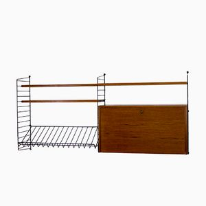 Teak Shelving System with Bar Cabinet by Nisse Strinning for String, 1960s