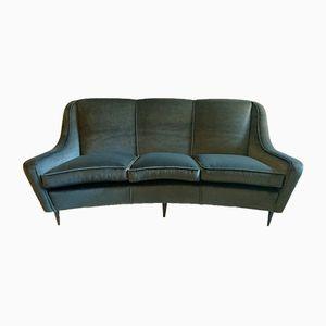 Italian Curved Grey Velvet Sofa, 1950s