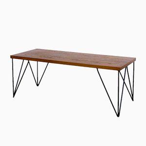 Table Basse Mid-Century avec Pieds en Épingle en Teck, 1960s