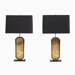 Etched Brass Lamps by Maho, 1980s, Set of 2