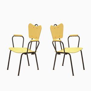 Italienische Mid-Century Armlehnstühle in Schwatz & Gelb von Arteluce, 2er Set