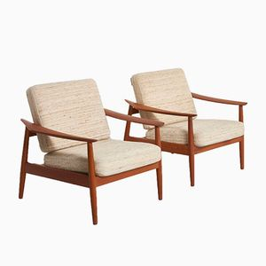Mid-Century Danish Teak Lounge Chairs by Arne Vodder for France & Søn, Set of 2
