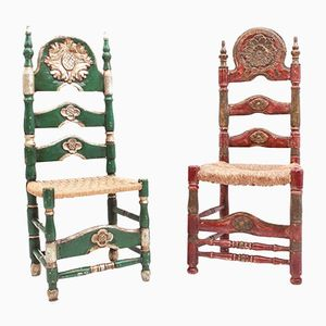 Antique Spanish Green and Red Ceremonial Chairs, Set of 2