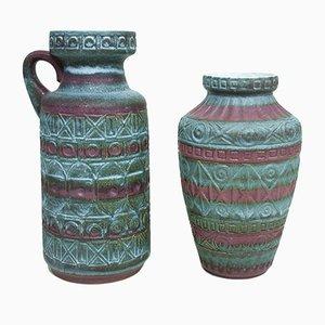 Vintage West German Ceramic Vases by Bodo Mans for Bay Keramik, Set of 2
