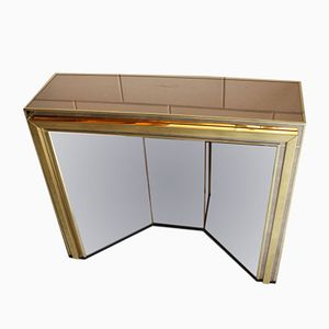 Vintage Brass and Smoked Mirror Console, 1980s