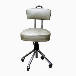Vintage Chromed Steel and Skai Dentist Chair, 1960s