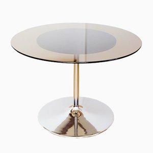 Table Vintage avec Socle Tulipe et Plateau en Verre Fumé