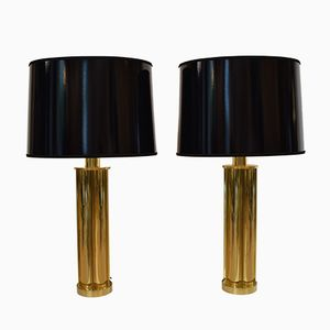 French Brass Table Lamps with Black Lacquered Lampshades, 1970s, Set of 2