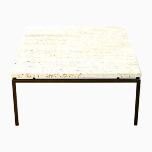 Steel & Travertine Side Table, 1960s