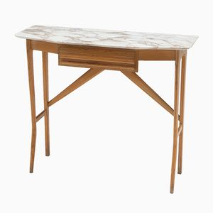 Mid-Century Italian Wood and Carrara Marble Console Table