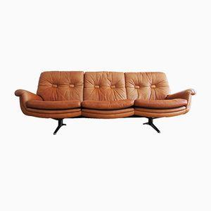 Vintage 3-Sitzer Ledersofa und Ottomane von de Sede, 1970er