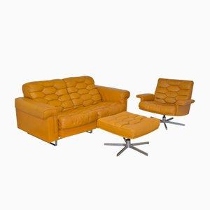 Vintage DS-P Zwei-Sitzer Sofa Set aus Cognacfarbenem Leder von de Sede, 1970er