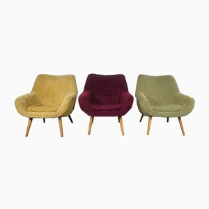 Mid-Century Yellow, Green, and Purple Armchairs, 1950s, Set of 3
