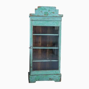 Vintage French Turquoise Display Cabinet, 1960s