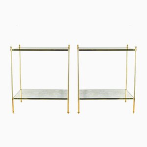 Vintage Gilt Brass Side Tables, 1970s, Set of 2