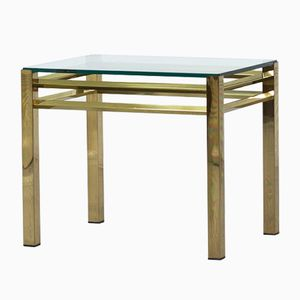 Vintage Brass and Glass Side Table, 1970s