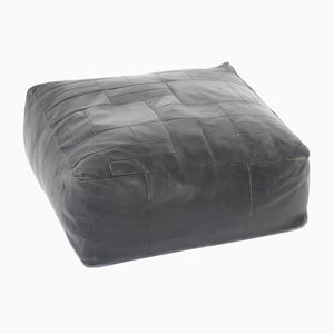 Vintage Large Black Thick Leather Ottoman