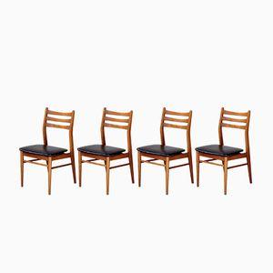 Chaises de Salle à Manger Vintage en Teck Blond et Skaï, Scandinavie, Set de 4