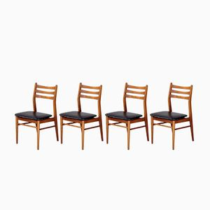 Skandinavische Vintage Esszimmerstühle aus Hellem Teak & Skai, 4er Set