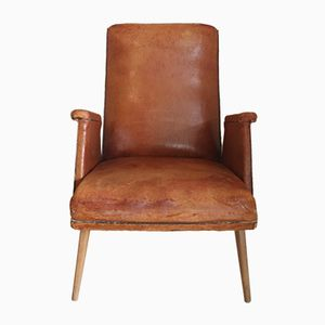 French Angular Leather Armchair, 1950s