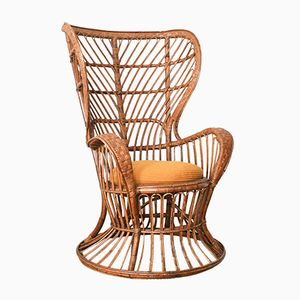 Mid-Century Italian Wicker Armchair by Gio Ponti for Vittorio Bonacina