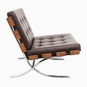 Flacher Stahl, Leder & Holz Sessel von Fröscher, 1970er