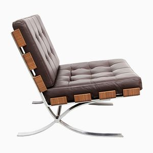 Flat Steel, Leather, and Wood Armchair from Fröscher, 1970s