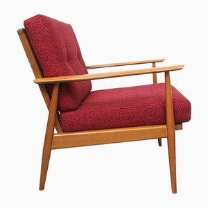 Red Cushioned Armchair, 1950s
