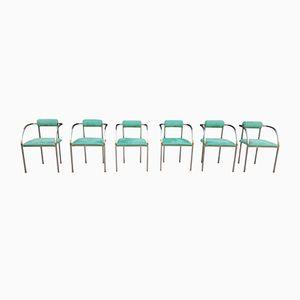 Stainless Steel & Green Velvet Chairs from Belgochrom, 1970s, Set of 6
