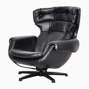 Mid-Century Modern Swedish Black Leather Swivel Lounge Chair