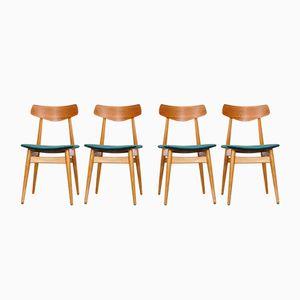 Skandinavische Eichenholz Esszimmerstühle, 1960er, 4er Set