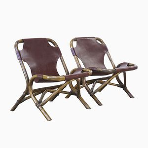 Saddle Leather Lounge Chairs with Bamboo Frames, 1980s, Set of 2