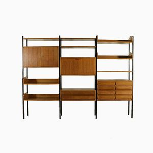Vintage Bookcase with Adjustable Elements in Metal and Mahogany Veneer