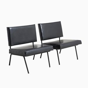 Easy Chairs in Black Skai Leather by Florence Knoll for Knoll, 1950s, Set of 2