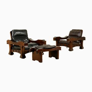 Armchairs with Footrest in Mahogany by Luciano Frigerio, 1960s, Set of 3