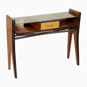 Console in Rosewood Veneer and Glass, 1950s