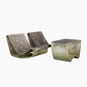 Loop Fauteuils and Table by Willy Guhl for Eternit AG, Set of 3