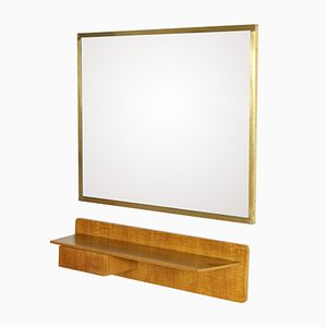Wall Console with Mirror in Walnut Veneer and Brass, 1960s