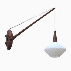 Skandinavische Lampe aus Holz & Opalglas, 1960er