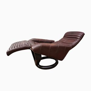 Danish Leather Reclining and Rotating Lounge Chair by Steen Ostergaard for Bramin, 1970s