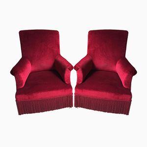Vintage Easy Chairs in Velvet, Set of 2