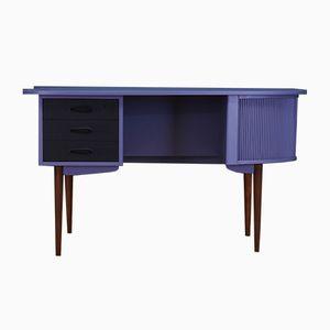 Danish Asymmetric Painted Teak Desk, 1970s