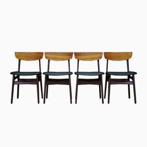 Dänische Palisander Esszimmerstühle, 1970er, 4er Set